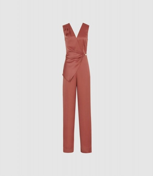 REISS VITA SATIN WRAP FRONT JUMPSUIT RUST