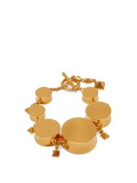 VALENTINO V-Logo Rockstud-embellished bracelet ~ chunky gold-tone bracelets