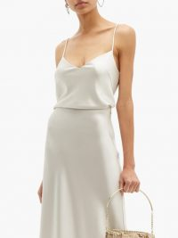 GALVAN V-neck satin camisole in silver | luxe cami top