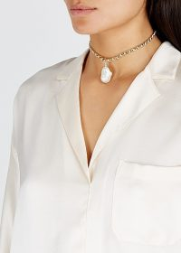 WALD BERLIN Le Chic 18kt gold-plated choker ~ large water pearl pendant chokers
