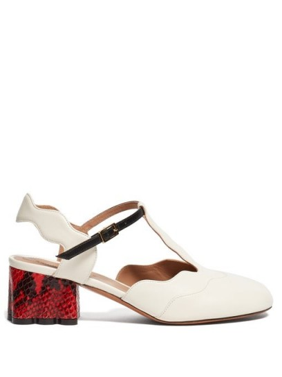 MARNI Waved leather and python-print pumps in cream ~ T-bar slingbacks