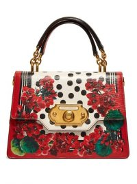 DOLCE & GABBANA Welcome red geranium-print leather bag ~ beautiful Italian handbags