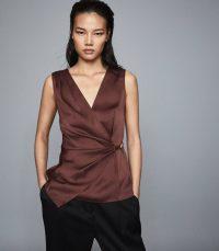 REISS WENDY WRAP FRONT SATIN TOP CHOCOLATE ~ luxe dark-brown tops
