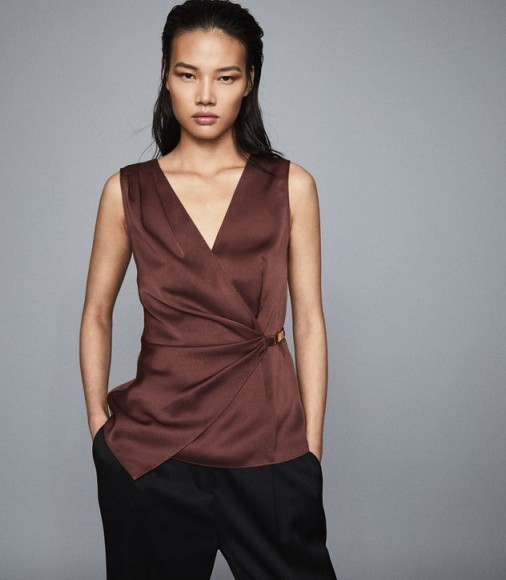 REISS WENDY WRAP FRONT SATIN TOP CHOCOLATE ~ luxe dark-brown tops