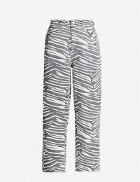 WHISTLES Zebra-print wide high-rise jeans ~ animal striped denim