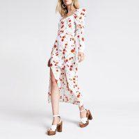 River Island White floral square neck maxi dress | retro fashion