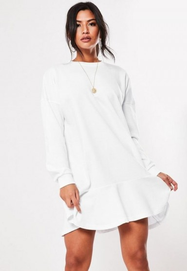 MISSGUIDED white frill hem sweater dress