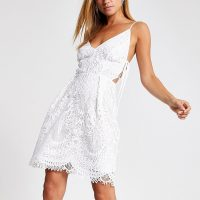 RIVER ISLAND lace skater dress ~ skinny straps with side tie