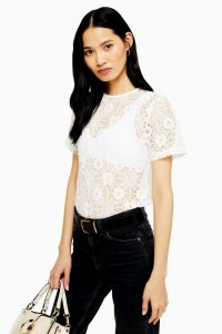 Topshop White Lace T-Shirt | sheer floral tee