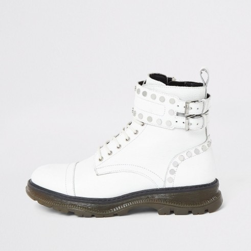 RIVER ISLAND White leather studded lace-up hiking boots – stud embellished buckle detail ankle boot
