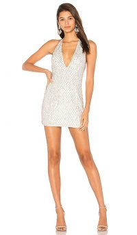 X by NBD Jack Dress Ivory & Silver | evening halterneck mini