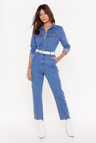 NASTY GAL You Better Work Denim Button-Down Boilersuit in Blue