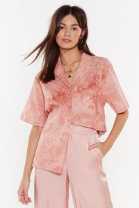 NASTY GAL You Look Good In My Shirt Oversized Tye-Die Shirt in pink