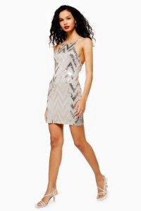 TOPSHOP Zig Zag Sequin Halter Neck Mini Dress Stone