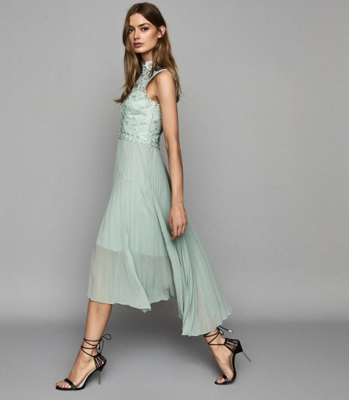 REISS AIDEEN LACE DETAIL PLEATED MIDI DRESS SAGE GREEN
