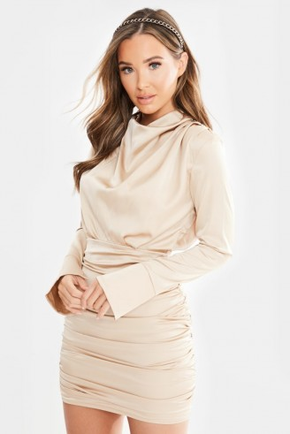 IN THE STYLE ALDA GOLD SATIN RUCHED LONG SLEEVE MINI DRESS ~ chic gathered dresses