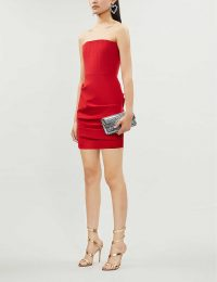 ALEX PERRY Kalen bandeau stretch-ponté bodycon mini dress – red strapless dresses