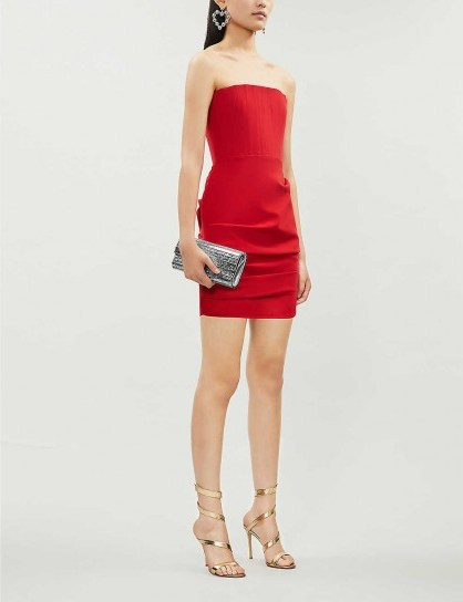 ALEX PERRY Kalen bandeau stretch-ponté bodycon mini dress – red strapless dresses - flipped