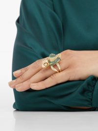 DANIELA VILLEGAS Alexander Fleming prehnite and garnet chameleon ring | luxe statement jewellery