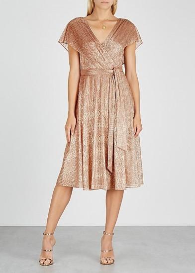 ALICE + OLIVIA Darva rose gold fine-knit wrap dress / shimmering flutter sleeve dresses