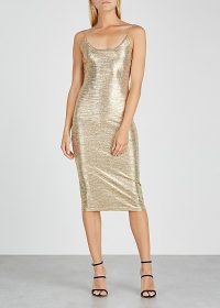 ALICE + OLIVIA Delora gold knitted dress ~ evening glamour ~ metallic-look party wear