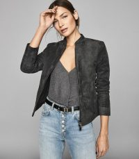 REISS ALLIE SUEDE BIKER JACKET CHARCOAL