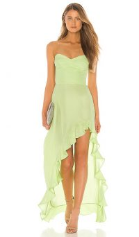 Amanda Uprichard Amalia Gown in Wasabi – green strapless evening gowns