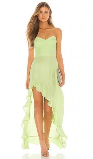 Amanda Uprichard Amalia Gown in Wasabi – green strapless evening gowns - flipped