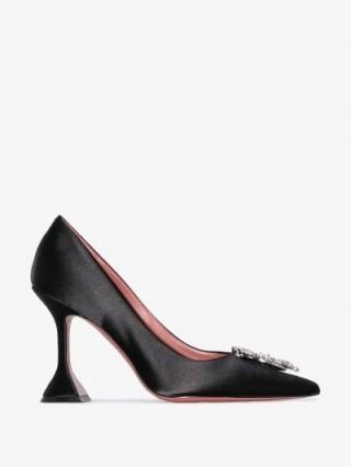 Amina Muaddi Black Begum 95 Crystal Embellished Satin Pumps ~ square base heels