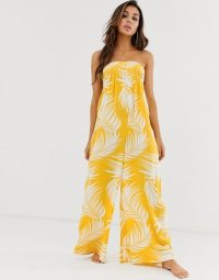 ASOS DESIGN bandeau beach jumpsuit with shirring in yellow palm outline print | poolside glamour