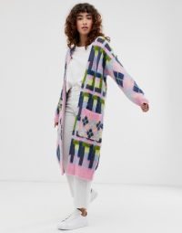 ASOS DESIGN brushed argyle maxi cardigan | longline pattered cardigans