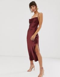 ASOS DESIGN cami midi slip dress in high shine satin with lace up back in plum