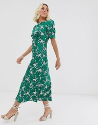 ASOS DESIGN midi tea dress in green floral print | vintage style fashion