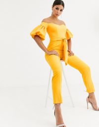 ASOS DESIGN off shoulder puff sleeve jumpsuit in ochre – yellow jumpsuits