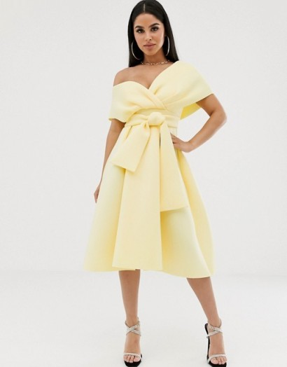 ASOS DESIGN Petite Fallen Shoulder Prom Dress with Tie Detail in Soft Yellow