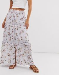 ASOS DESIGN prairie tiered maxi skirt in dusty lilac floral print
