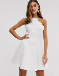 ASOS DESIGN scallop halter mini skater dress | fit and flare party frock