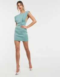 ASOS DESIGN square neck mini dress with fold sleeve in duck egg