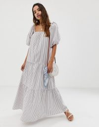 ASOS DESIGN tiered maxi dress in stripe with puff sleeve