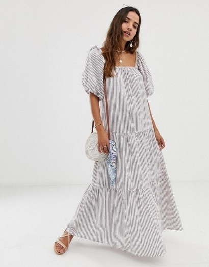 ASOS DESIGN tiered maxi dress in stripe with puff sleeve - flipped