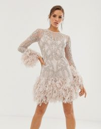 ASOS EDITION crystal embellished mini dress with faux feather hem in ice pink