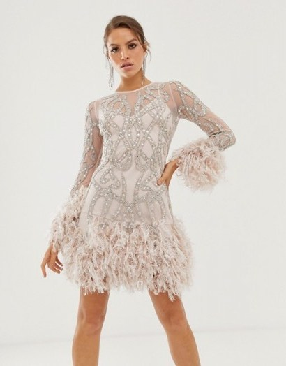 ASOS EDITION crystal embellished mini dress with faux feather hem in ice pink - flipped