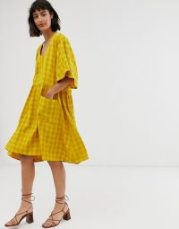 ASOS WHITE self check smock dress with pockets