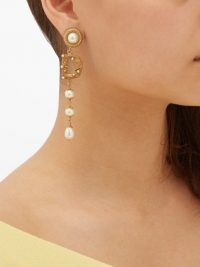 DOLCE & GABBANA Asymmetric DG logo and faux pearl drop earrings