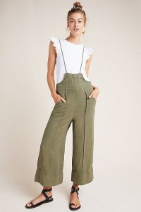 Anthropologie Emmett Bib-Front Utility Jumpsuit in Moss