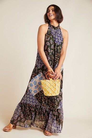 ANTHROPOLOGIE Katrina Maxi Dress ~ long patch print halter dresses