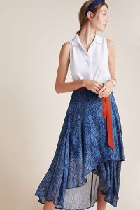 Conditions Apply Joni Midi Wrap Skirt Blue Motif