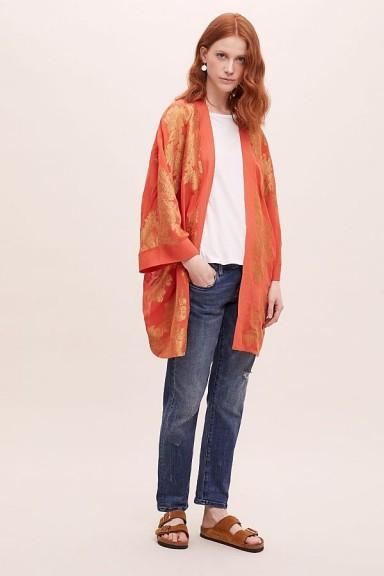 Seen Worn Kept Kaede Jacquard Kimono Orange