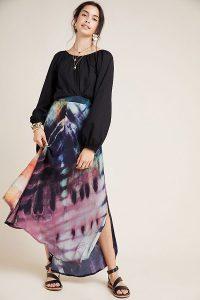 Bl-nk Tie Dye-Print Maxi Skirt Purple Motif