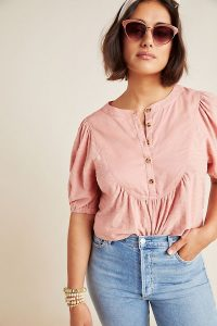 Anthropologie Elinor Textured Top Pink